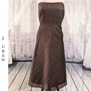 J. Crew Brown Crinkle Strapless Dress, Size 14